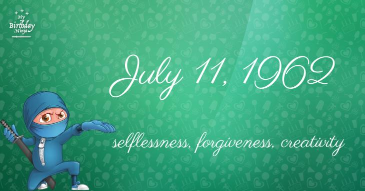 July 11, 1962 Birthday Ninja