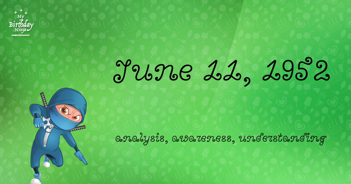 June 11, 1952 Birthday Ninja Poster