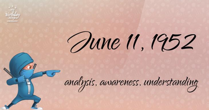 June 11, 1952 Birthday Ninja