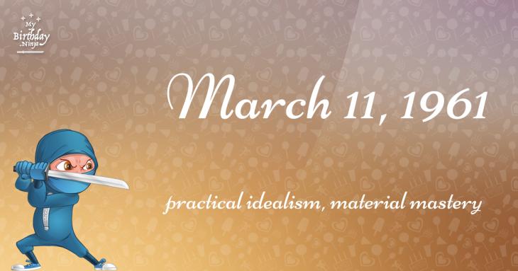 March 11, 1961 Birthday Ninja