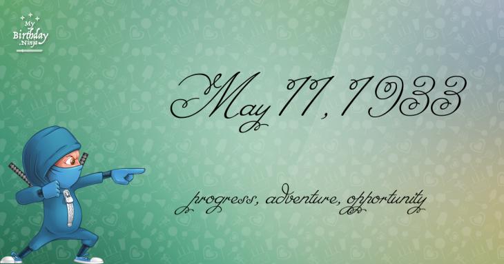 May 11, 1933 Birthday Ninja