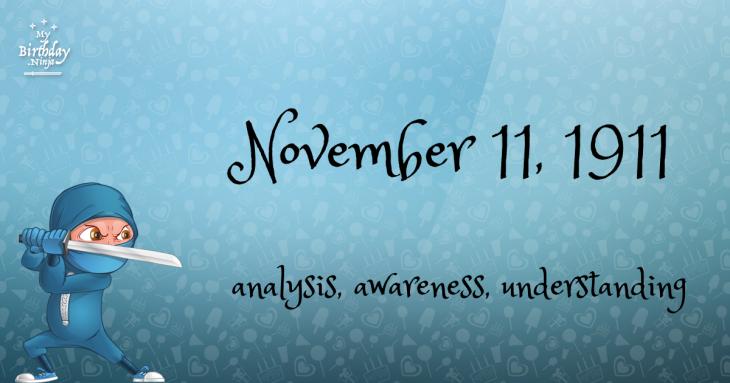 November 11, 1911 Birthday Ninja