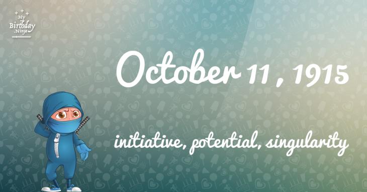 October 11, 1915 Birthday Ninja