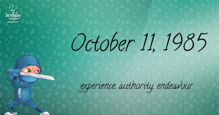 October 11, 1985 Birthday Ninja