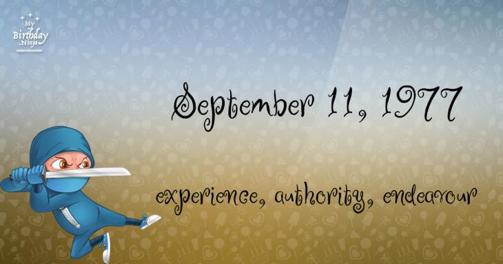 September 11, 1977 Birthday Ninja