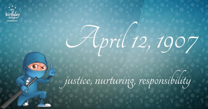 April 12, 1907 Birthday Ninja