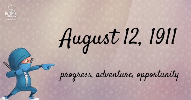 August 12, 1911 Birthday Ninja
