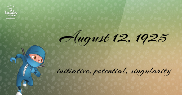 August 12, 1925 Birthday Ninja