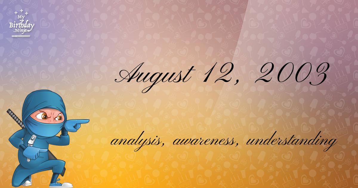 August 12, 2003 Birthday Ninja Poster