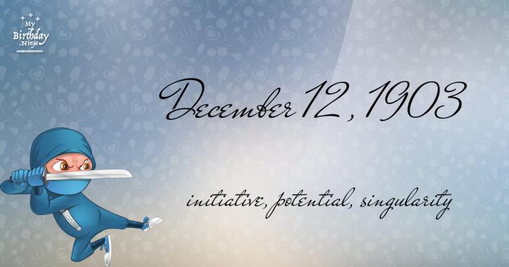 December 12, 1903 Birthday Ninja