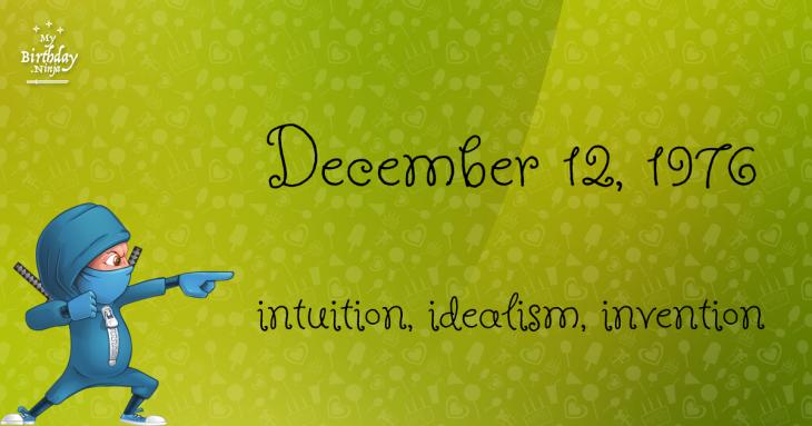 December 12, 1976 Birthday Ninja