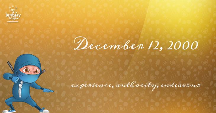 December 12, 2000 Birthday Ninja