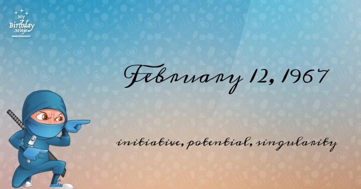 February 12, 1967 Birthday Ninja
