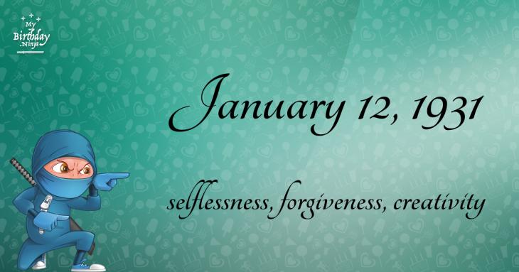 January 12, 1931 Birthday Ninja