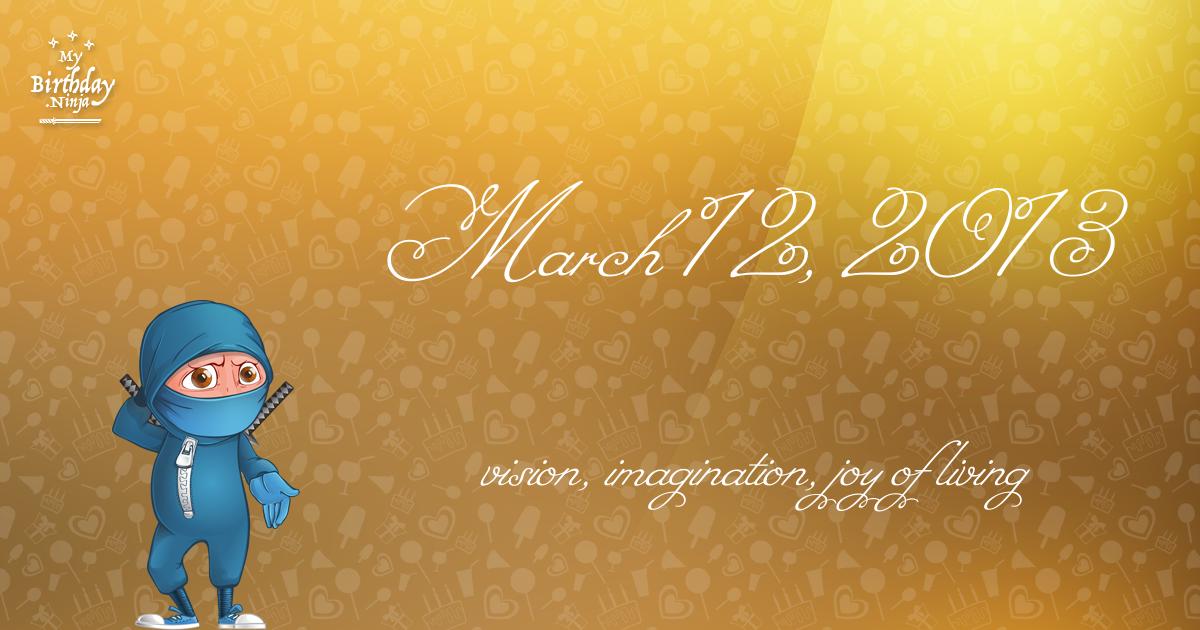 March 12, 2013 Birthday Ninja Poster
