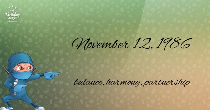 November 12, 1986 Birthday Ninja