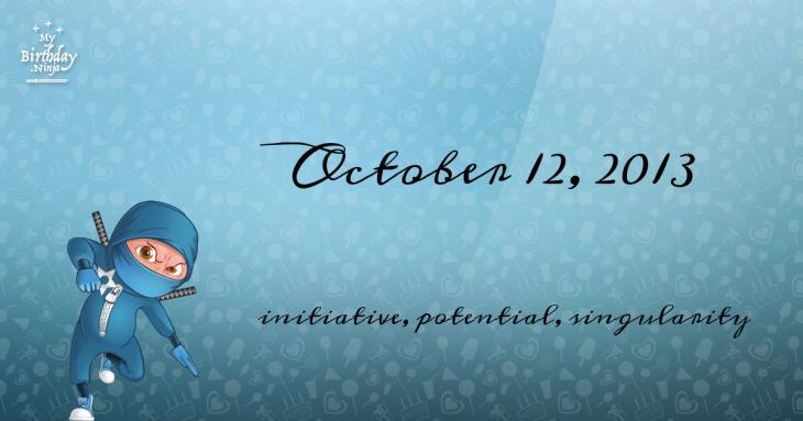 October 12, 2013 Birthday Ninja