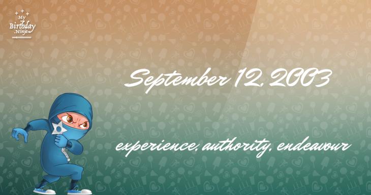 September 12, 2003 Birthday Ninja