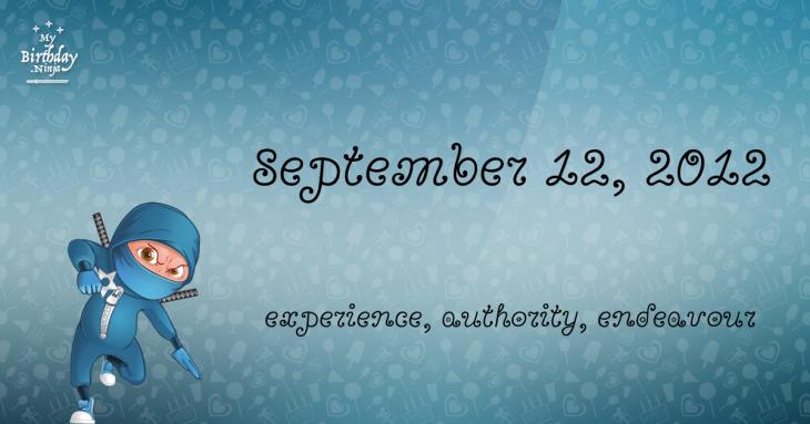 September 12, 2012 Birthday Ninja