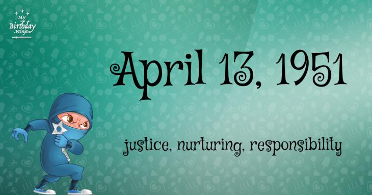 April 13, 1951 Birthday Ninja