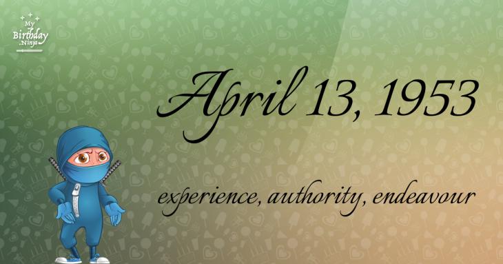 April 13, 1953 Birthday Ninja