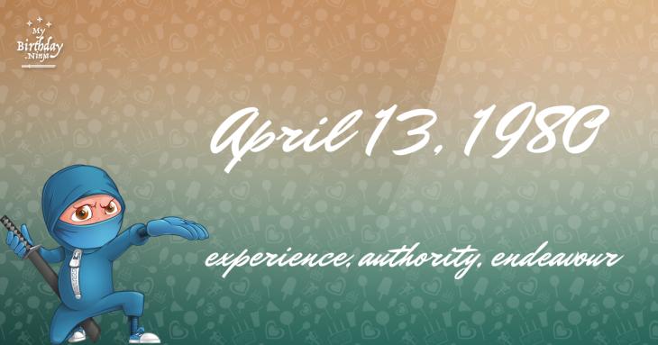 April 13, 1980 Birthday Ninja