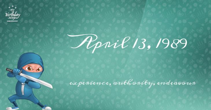 April 13, 1989 Birthday Ninja