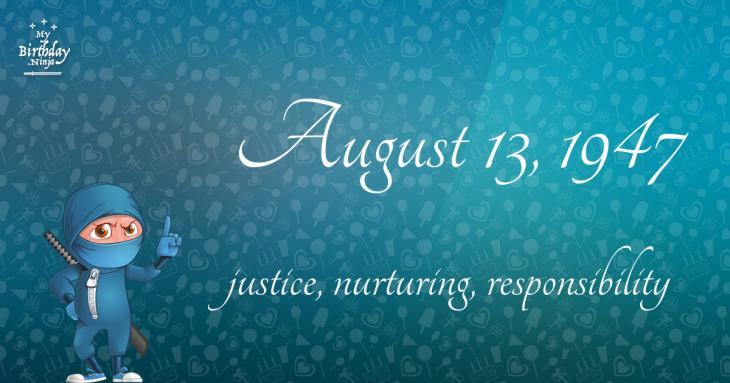 August 13, 1947 Birthday Ninja