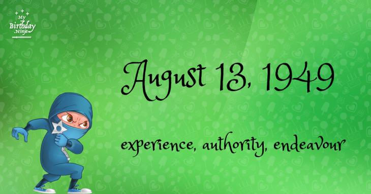 August 13, 1949 Birthday Ninja