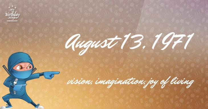 August 13, 1971 Birthday Ninja