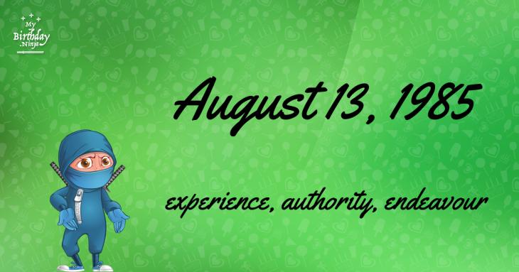 August 13, 1985 Birthday Ninja