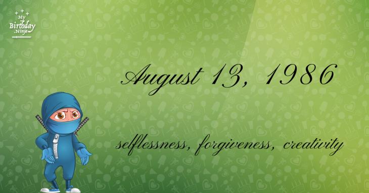 August 13, 1986 Birthday Ninja