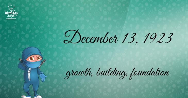 December 13, 1923 Birthday Ninja