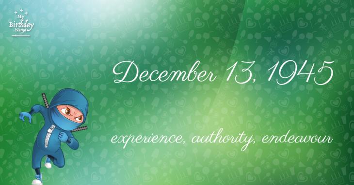 December 13, 1945 Birthday Ninja