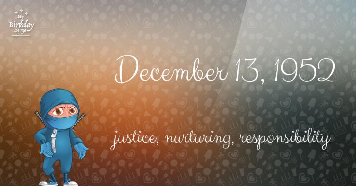 December 13, 1952 Birthday Ninja