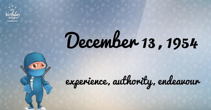 December 13, 1954 Birthday Ninja