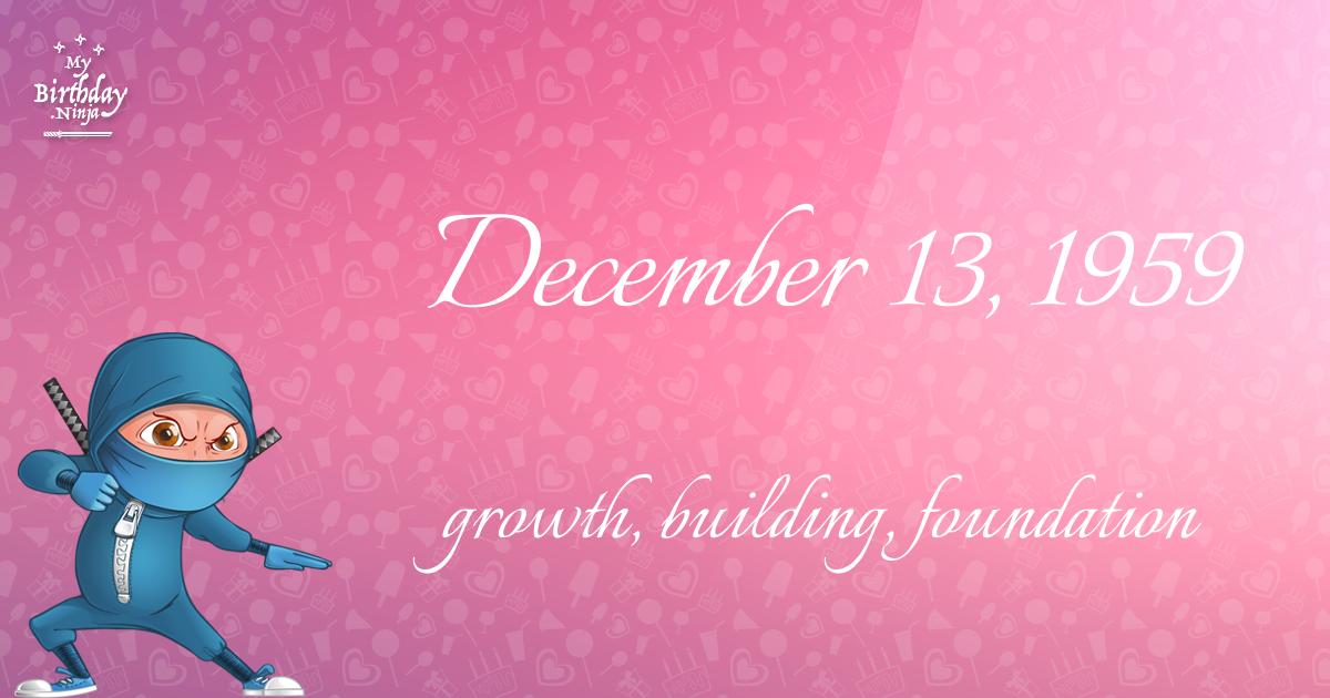 December 13, 1959 Birthday Ninja Poster