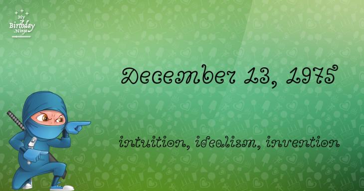 December 13, 1975 Birthday Ninja