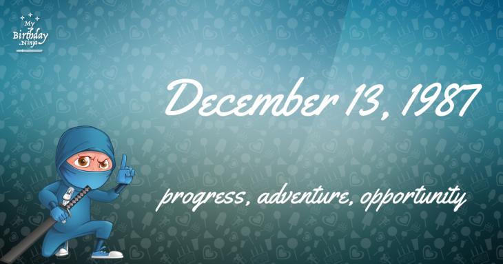 December 13, 1987 Birthday Ninja