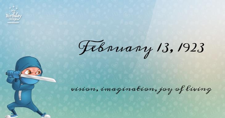 February 13, 1923 Birthday Ninja