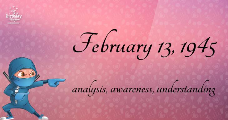 February 13, 1945 Birthday Ninja