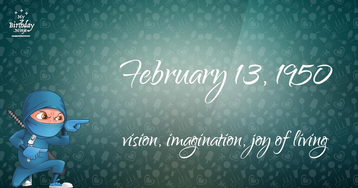 February 13, 1950 Birthday Ninja Poster