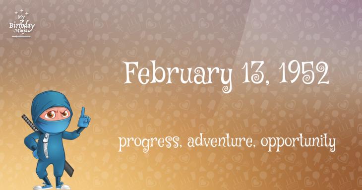 February 13, 1952 Birthday Ninja