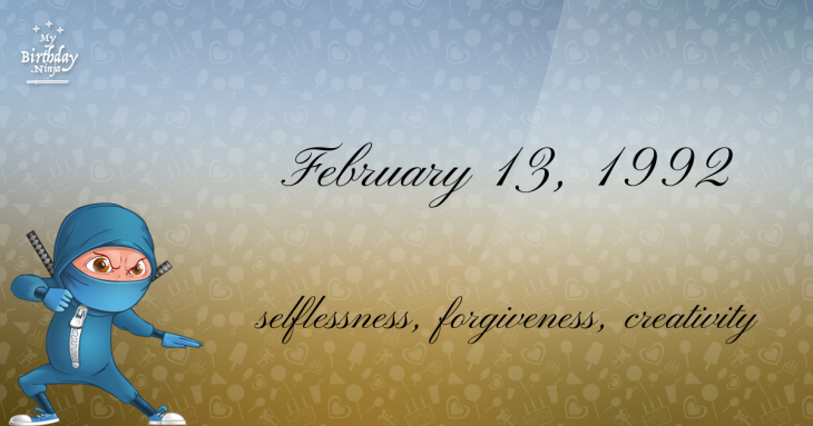 February 13, 1992 Birthday Ninja