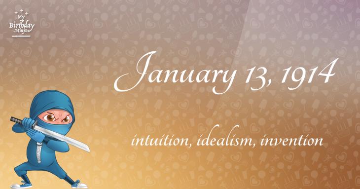 January 13, 1914 Birthday Ninja