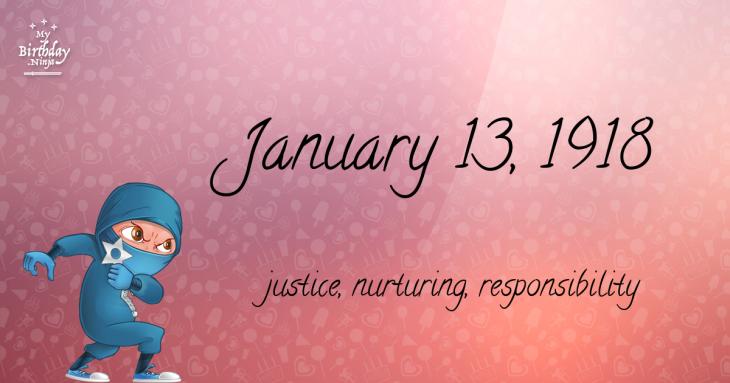 January 13, 1918 Birthday Ninja