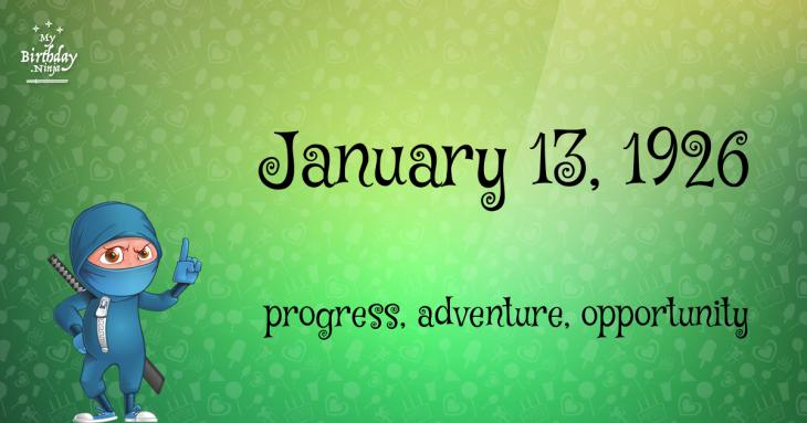 January 13, 1926 Birthday Ninja