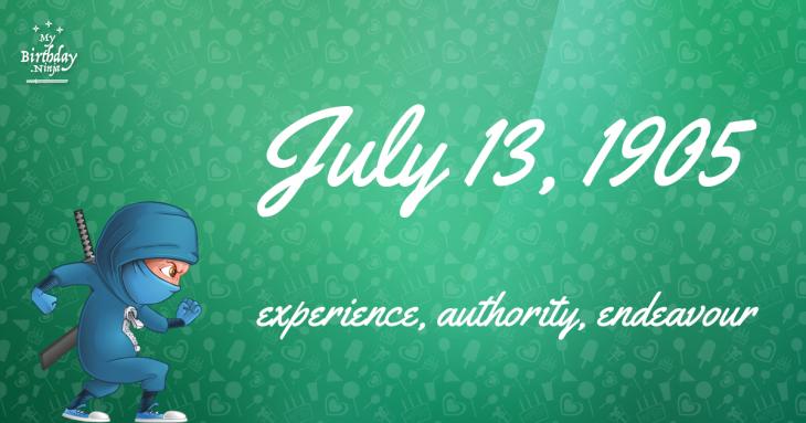 July 13, 1905 Birthday Ninja