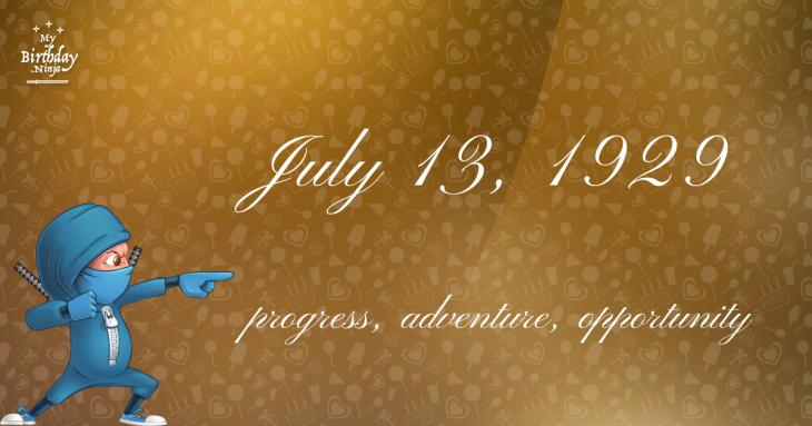 July 13, 1929 Birthday Ninja