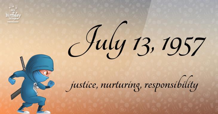 July 13, 1957 Birthday Ninja